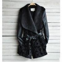 2014新款女装欧美时尚冬季皮草外套女性苗条外套长袖PU皮夹克外套