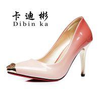 卡迪彬MK6764春季韩版新款头层牛皮单鞋磨砂亮片鞋高跟鞋低帮尖头女鞋