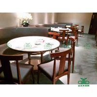 圆形餐桌 餐厅包房大理石餐桌 6-8人位餐桌椅 深圳运达来家具