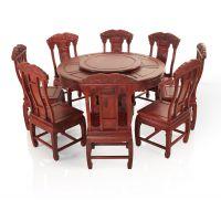 千百年红木 红酸枝厂家 老挝红酸枝巴里黄檀圆餐桌 红木圆桌QB-502H
