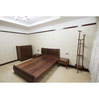 港龙红木 鸡翅木卧室成套家具 卧室床 五斗柜 衣帽架 电视柜 1.8米双人床