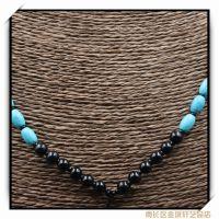 5.5mm黑色玛瑙圆珠绿松石吊坠绳 纯天然打造 品质保证