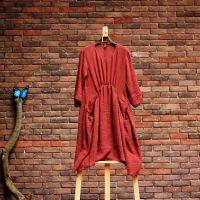 原创设计新款亚麻褶皱口袋款文艺森女风连衣裙