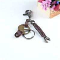 Promotional Leather Metal Key Chain With Key Ring Design