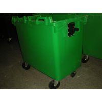 小区脚踏大型垃圾箱 660L塑料脚踏环卫垃圾箱 带刹车轮手推垃圾桶