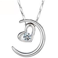 月亮代表我的心 情侣吊坠 项链 饰品批发 混批银饰 项饰
