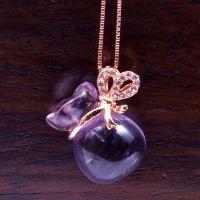 正品萃尚饰品批发 紫晶葫芦、福袋吊坠 S925纯电镀玫瑰金