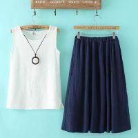 2015夏季新款女装韩版时尚圆领无袖亚麻T恤长裙套裙加挂件QQGC-H