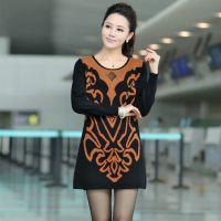2014秋冬新款韩版针织套头圆领长袖打底衫针织衫羊毛衫中老年女装