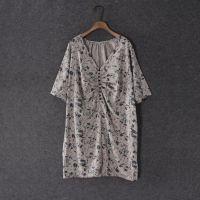 出口日本原单尾货棉麻女款短袖开衫衬衫大版大码衬衫2穿当连衣裙