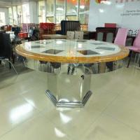 外贸出品 酒店时尚钢化玻璃火锅桌 创意电磁炉火锅台 多人位餐桌椅
