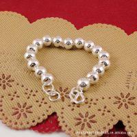 纯银手链 佛珠手链 转运珠 光面珠  精致圆珠佛珠 银饰批发