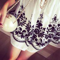 小银子2015夏装新款唯美立体重工刺绣系带不挑人显瘦连衣裙Q6250