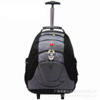 瑞士军刀拉杆背包厂家批发男士商务拉杆行李包大容量拉杆电脑背包