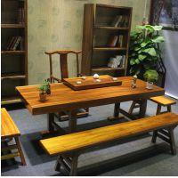 原木奥坎绿心檀实木大板桌会议桌书桌画案餐桌花梨大班台