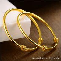 一比一仿黄金首饰光板推拉结婚手镯硬币铜材料 欧币手链不退色
