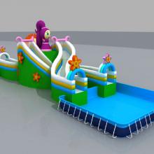 大连新款花仙子水上充气滑梯pvc,户外组合式支架水池游泳池,心悦水上乐园闯关障碍设计图