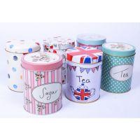山东厂家定制简易马口铁小茶盒 圆形家居茶叶铁罐包装收纳盒