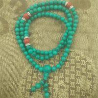 厂家特价直销 天然绿松石108粒佛珠项链 项链手串直销批发
