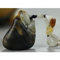 佳鹤宝玉和田玉青花籽料双兔项链挂件特价批发54.5克