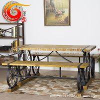美式复古铁艺桌椅组合咖啡酒吧店餐厅客长条桌子长椅实木户外休闲