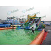 移动水上乐园规划、章鱼造型的水滑梯配充气水池
