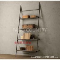美式乡村家具铁艺置物架复古式做旧实木书架收纳架储物架风格