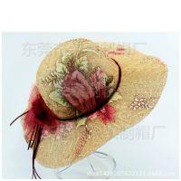 防晒时尚帽子拉菲草遮阳草帽沙滩帽夏天女防紫外线大檐帽东莞工厂