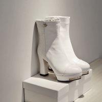 14秋冬淑女风防水台粗高跟牛皮PU低筒靴纯色软面皮耐磨底骑士靴