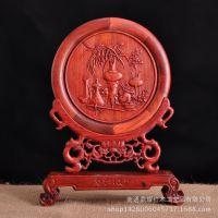 红檀插台屏红木工艺品礼品摆件客厅木雕挂件天红风生水起厂家直销