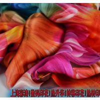 小提花印花布雪纺印花面料 100%涤纶仿真丝面料雪纺印花女装印花