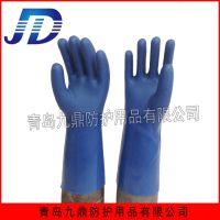 自产自销批发工业浸塑全浸胶蓝耐油劳保手套加厚磨砂可加工定做pvc手套