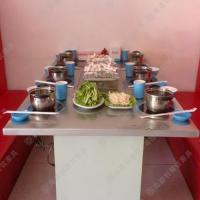 热卖 根据地火锅城专用火锅餐桌椅 酒店多人位方形餐台 火锅烤涮一体桌