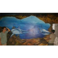 常青花园手绘墙,武汉名艺软装馆,舞蹈室唯美手绘墙