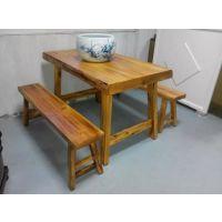 烧烤店餐桌椅 实木餐桌定做 行一家具 现代中式