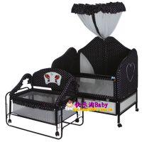 儿童铁床 BB音乐摇篮床 婴儿铁床童床 送蚊帐 可调高度2张床
