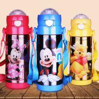 儿童保温水杯带吸管正品米奇保温杯小孩保温杯迪士尼保温杯带吸管