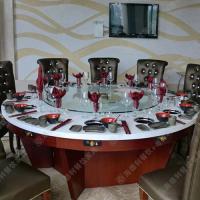 海德利厂家直销电磁炉火锅桌厂专业定做榆木多人位餐桌餐椅批发代理