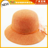 夏天大沿宽边太阳帽子 丝带花朵围带大檐草帽 颜色多样任选 橙色