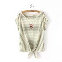 2015春装新款韩版百搭学院风条纹打结刺绣女孩T恤打底衫女上衣
