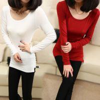 2015春新款莫代尔长袖打底衫修身前 百搭韩版纯色女士T恤衫W107