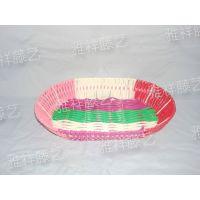 直销pp塑料编织筐水果篮子收纳篮旦形果盘编织篮子(图)