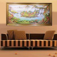 山水风景纯手绘油画 有框风景油画客厅壁画  客厅装饰画批发