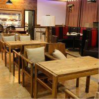 批发咖啡厅桌椅组合西餐厅桌椅奶茶店甜品店桌椅北欧宜家实木餐椅