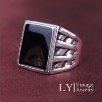 2015的礼物男人橄榄球球衣时尚个性西藏925银合金黑色戒指
