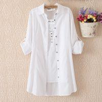 中长款白色外套日系衬衣甜美长袖纯棉衬衫防晒空调打底衫韩631Q