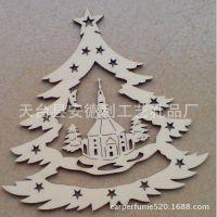 卡通木头雕刻圣诞挂件 圣诞木制品挂饰 批发木质工艺品
