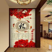 现代中式客厅电视墙 zg-252红牡丹福 瓷砖背景墙电视背景墙