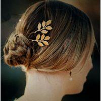 韩版镀金树叶发夹 一字夹 新娘头花 Ebay速卖通货源 ALQF20140372