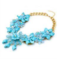 速卖通 eBay 果冻 bib 项链  蓝色水晶亚克力 夸张项链 欧美短款